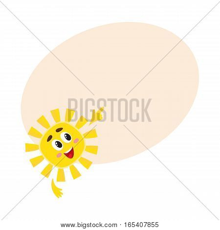 Smiling sun pointing to something with its finger, cartoon vector illustration on background with place for text. Cheerful sun character, symbol of summer season, hot weather and vacation at the sea