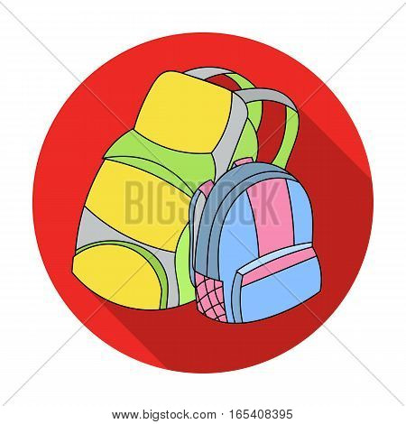 Pair of travel backpacks icon in flat design isolated on white background. Family holiday symbol stock vector illustration.