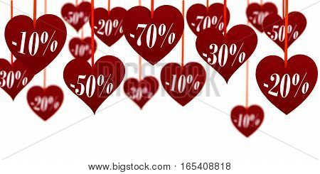 Valentine's sale upper decoration with hanging hearts on white background.