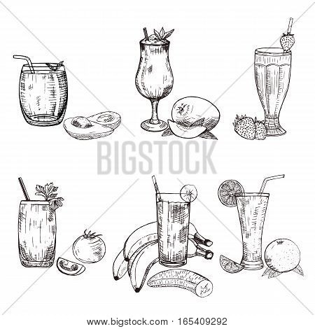 Collection of different smoothie in glass. Vector sketch of avocado, banana, mango, orange, strawberry, and tomato beverages. Fruity set used for poster, advertising menu or recipe book design.