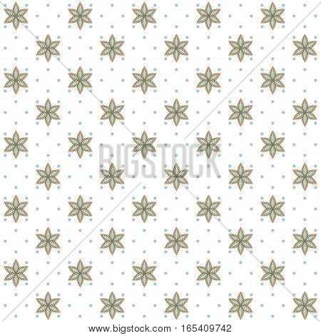 Seamless vector background. Vintage floral calico pattern. Easily edit the colors. This ornament is a part of collection oriental patterns.