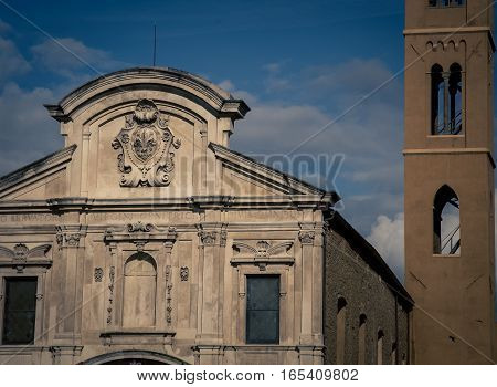 Church and tower in the city of  Florence Italy