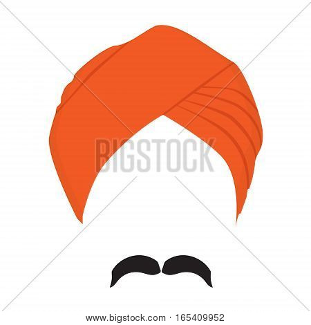 Turban Headdress And Mustache Vector