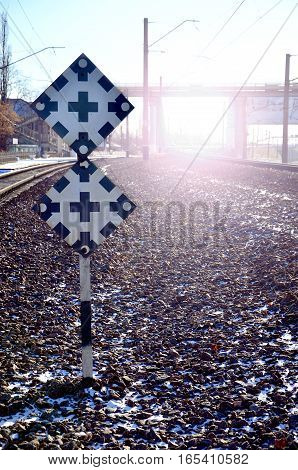 Railroad Sign With The Railway Background