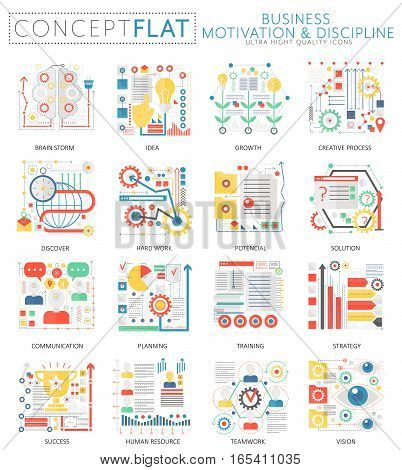 Infographics mini concept Business motivation icons for web. Premium quality color conceptual flat design web graphics icons elements. Business motivation discipline concepts