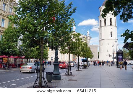 Vilnius, Lithuania - August 11, 2016: Streets Of The Old Town Of Vilnius, One Of The Largest Survivi