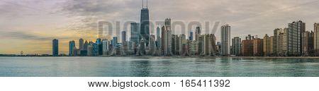 Chicago Skyline Sunset with Lake Michigan Daytime