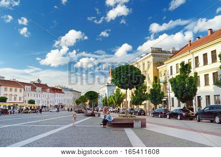 Vilnius, Lithuania - August 11, 2016: The Town Hall Square At The End Of The Pilies Street Is A Trad