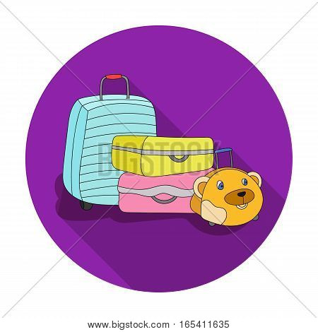 Luggage icon in flat design isolated on white background. Family holiday symbol stock vector illustration.