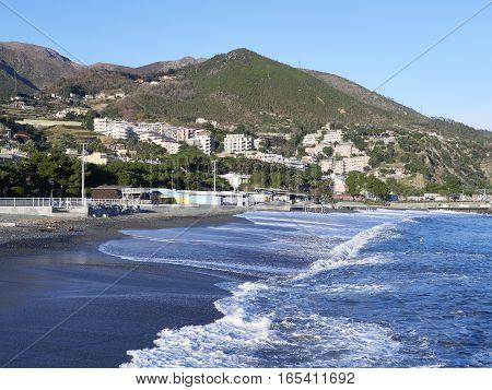 nice view of arenzano near genova , italy