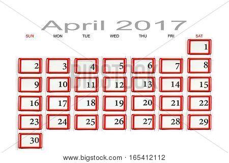 a calendar for April 2017 macro closeup