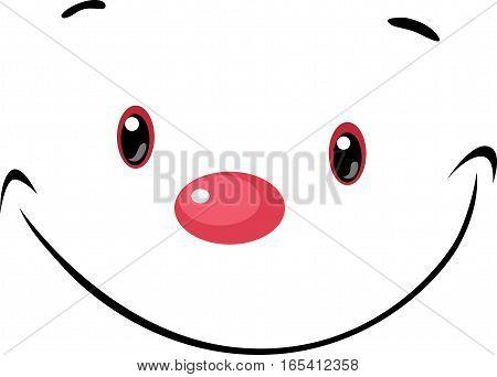 cute face - vector cartoon illustration on white