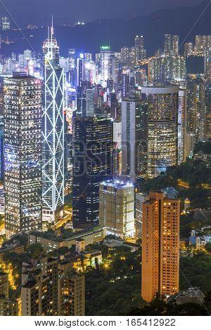 Hong Kong City At Night, Pearl Of The Orient