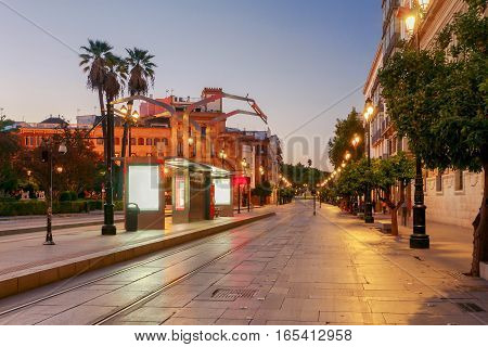 Constitution Avenue in night light. The central street of the city next to the cathedral. Sevilla. Andalusia.