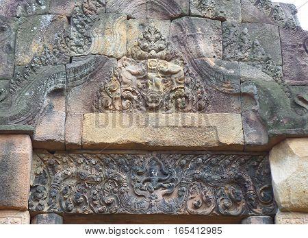 Gorgeous relief on the door lintel of Prasat Hin Muang Tam ancient shrine, Buriram, Thailand
