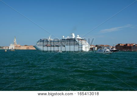 Venice Italy - September 9 2016: Sirena cruise ship on canal in Venice Italy. Unidentified people visible.
