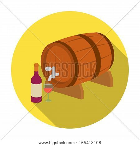 Wooden wine barrel icon in flat design isolated on white background. France country symbol stock vector illustration.