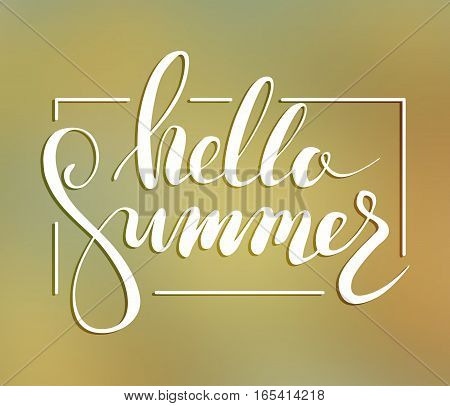 Hallo summer lettering. Vector illustration on blurred background