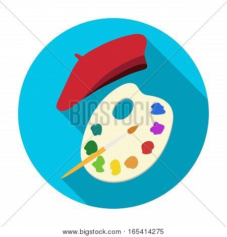 Painting palette and beret icon in flat design isolated on white background. France country symbol stock vector illustration.