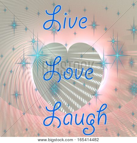 Fractal retro heart made from color pink and white stripes with the blue text Live Laugh Love