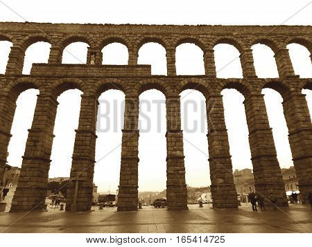 Sepia Tone of The Aqueduct of Segovia, Stunning Landmark and the UNESCO World Heritage Site, Spain