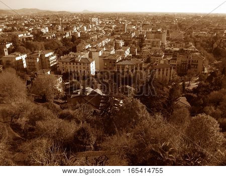Cityscape of Citta Bassa or the Lower Town of Bergamo, Northern Italy in Sepia Tone
