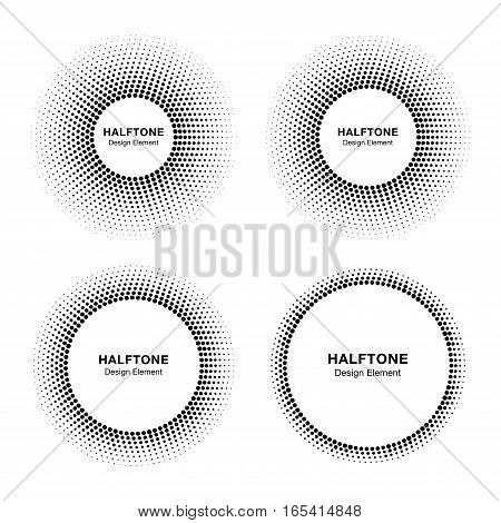 Set of black abstract halftone vector circle frames, logo emblem design element for medical, treatment, cosmetic. Round border Icon using halftone circle dots vector texture