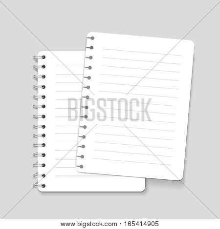 Realistic spiral vector lined blank notebook isolated and ripped sheet of paper illustration