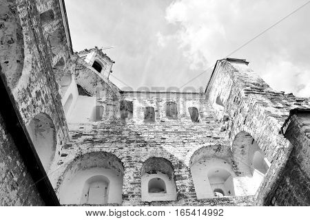 Fortress tower of Vologda Kremlin in Russia. Black and white..
