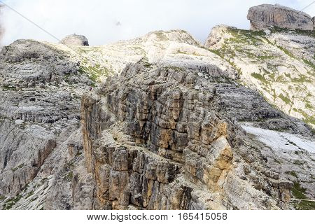 Footpath Alpinisteig And Sexten Dolomites Mountain Panorama In South Tyrol, Italy