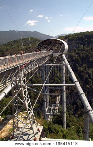 The longest suspension bridge in the world - Skybridge in skiparque Adler