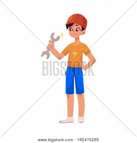 Teenage boy in orange builder helmet holding a wrench, cartoon vector illustration on white background. Full length portrait of boy holding wrench and wearing safety helmet, repair concept