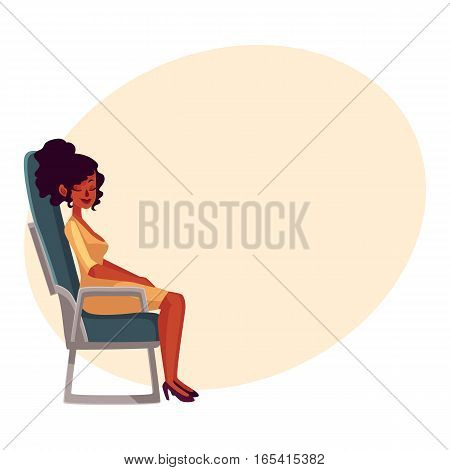 Young beautiful black, African woman seating in airplane, economy class, cartoon vector on background with place for text. Woman seating, sleeping in economy class, airplane passenger, side view