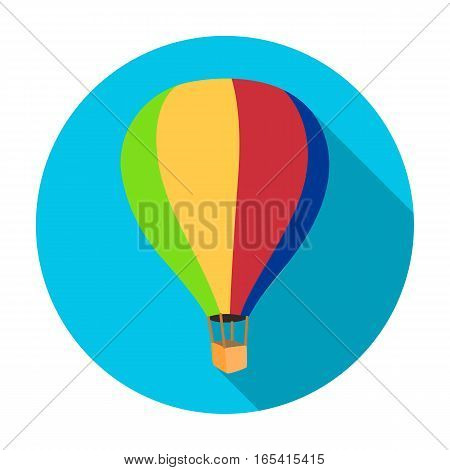 Airballoon icon in flat design isolated on white background. Rest and travel symbol stock vector illustration.
