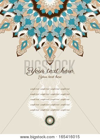 Card with ornate patterns. Space for your text. Easily edit the colors. Perfect for invitations, announcement or greetings.