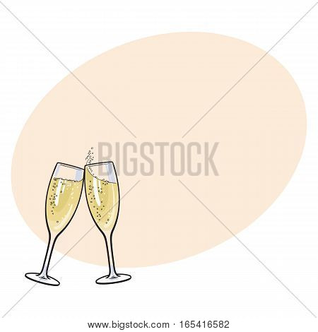 Pair of champagne glasses, set of sketch style vector illustration on background with place for text. Hand drawn glasses with bubbly champagne, cheers, holiday toast