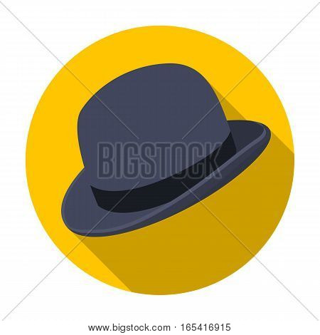 Bowler hat icon in flat design isolated on white background. Hipster style symbol stock vector illustration.