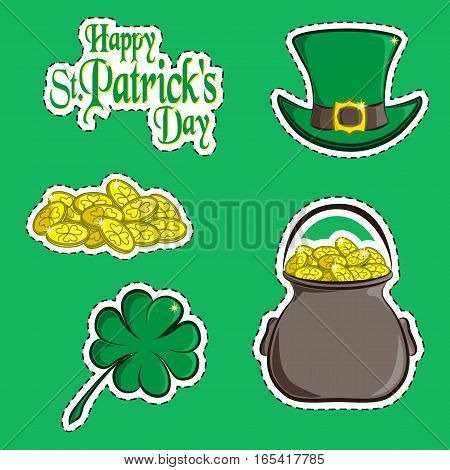 Vector set of design element and scrapbook object of St. Patrick's Day symbols. Greeting inscription, green hat, a handful of coins, clover quatrefoil and a pot of gold. Usable for your design.