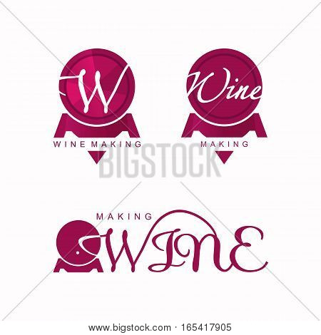 wine making logo vector, wine barrel, red logotype
