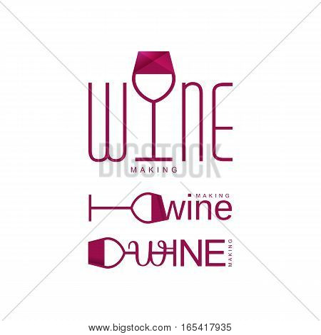 wine tasting logo vector illustration, red logotype