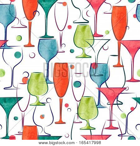 Seamless pattern with colorful cocktail glasses. Vector alcohol background.