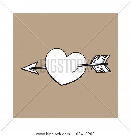 shiny cartoon heart pieced by Cupid arrow, sketch style illustration isolated on brown background. Heart pierced by arrow, symbol of love, romance and passion, marriage icon