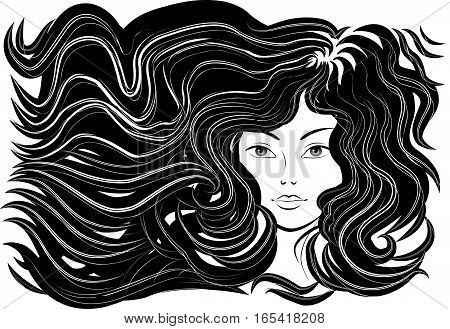 Beautiful woman with flowing hair, flowing lines, monochrome picture. Vector illustration