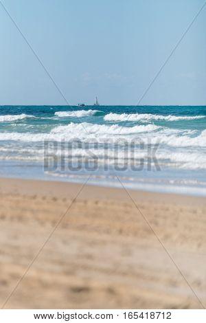 landscape coast of Mediterranean sea in the winter