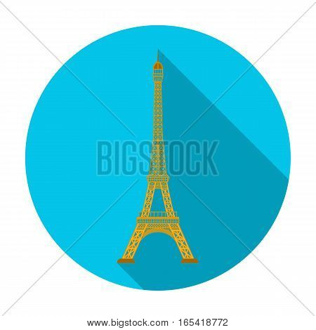 Eiffel tower icon in flat design isolated on white background. Countries symbol stock vector illustration.