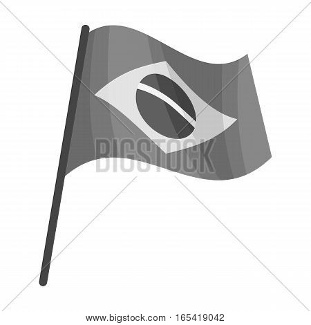 Flag of Brazil icon in monochrome design isolated on white background. Brazil country symbol stock vector illustration.