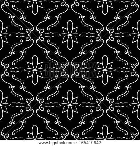 Elegant flourish seamless pattern. White curved lines on black background. Ornate texture for website backgrounds. Vector. Made using clipping mask