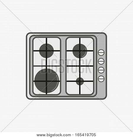 A simple flat icon for cook surface with fourheating elements of different sizes