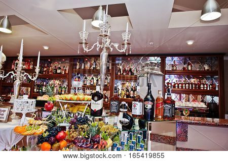 Hai, Ukraine - January 5, 2017: Different Bottles On Bar Reception On Wedding.