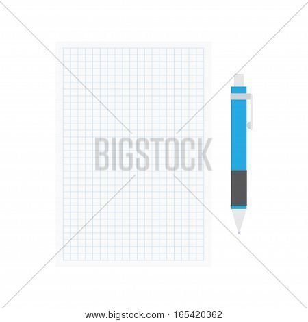 Opened notepad with pen. Sketchbook or diary for notes. Vector illustration